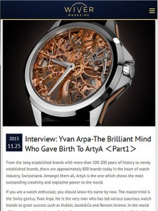ArtyA Interview with Yvan Arpa in WIVER MAGAZINE(1)